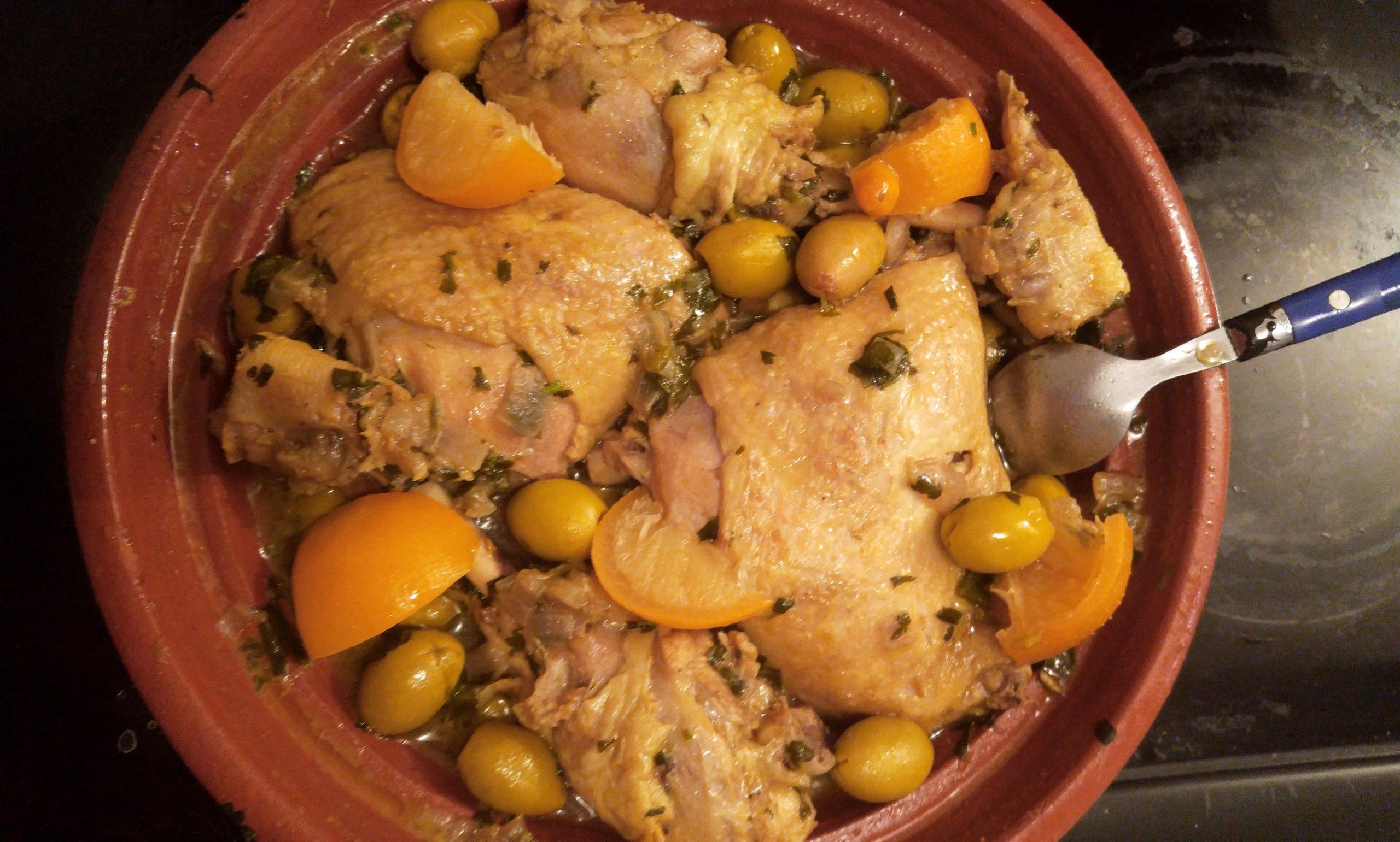 Tagine de Poulet aux Olives et Citrons Confit
