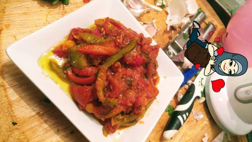 Féfla bél Matécha (Zaalouk de Poivrons Tomates )