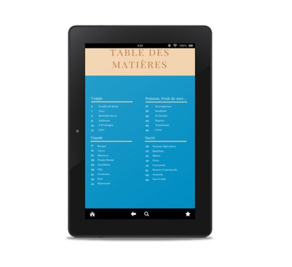 table des matière sur tablette